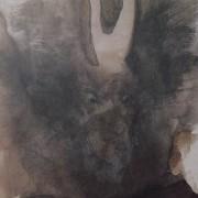 Ce détail d'un dessin de Victor Hugo représente l'apparition, sur un fond sombre, d'un masque de démon grimaçant.