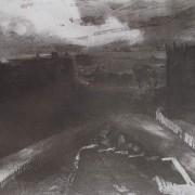 Ce détail d'un dessin de Victor Hugo représente une route de terre menant à une grande ville en contrebas.