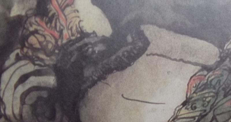 Femme couchée de dos dont on aperçoit la tête aux cheveux blonds en chignon, posée sur un oreiller enroulé, une mantille entoure ses épaule et révèle son dos, nu, qui sort à mi-tronc d'une couverture bariolée.