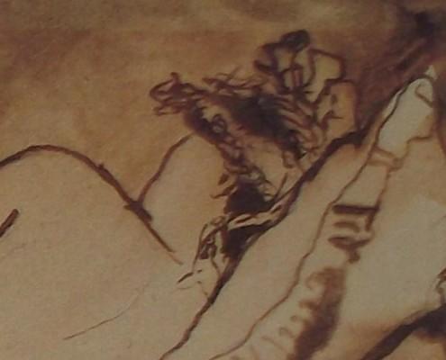 Ce détail d'un dessin de Victor Hugo représente la nuque d'une jeune femme en chignon, la tête posée sur un oreiller relevé.