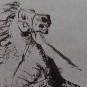 Ce détail d'un dessin de Victor Hugo représente la tête d'un cheval se cabrant après la bataille, la crinière au vent.