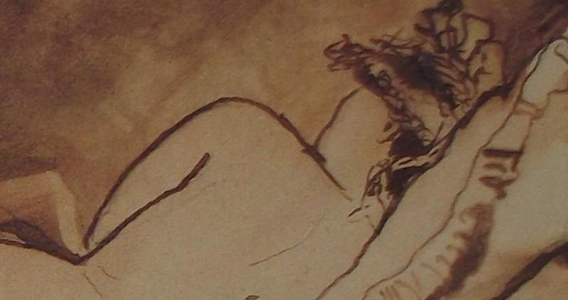 Ce détail d'un dessin de Victor Hugo représente le dos d'une jeune femme allongée, tête posée sur un oreiller.