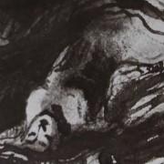 Ce détail d'un dessin de Victor Hugo représente une jeune femme allongée, la têt basculée en arrière, tournée vers le ciel, ou vers Booz endormi.