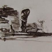 Ce détail d'un dessin de Victor Hugo représente une forme qui se dresse dans la nature, ou qui jaillit des taches du dessin, comme si ce siècle avait deux ans...