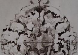 Ce détail d'un dessin de Victor Hugo représente une fleur réalisée avec des taches d'encre et papier plié en quatre.
