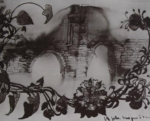 Ce détail d'un dessin de Victor Hugo représente des fleurs à longue tiges, entrelacées, et entourant un vieux pont, comme un hommage au fait d'être aimé.