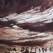 Ce détail d'un dessin de Victor Hugo représente les lignes tourmentées du destin et de l'exil, entrecroisées au-dessus des mots : « MA DESTINÉE ».