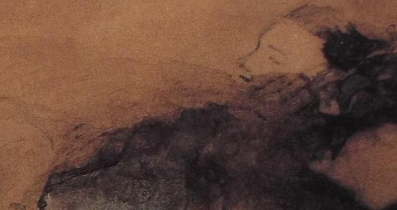 Ce détail d'un dessin de Victor Hugo représente, émergeant d'une tache vaporeuse et sombre, le pur visage d'une jeune femme.