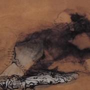 Ce détail d'un dessin de Victor Hugo représente, émergeant d'une tache dans laquelle se dessine un œil de serpent, le visage pur d'une jeune femme.