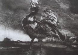 Ce détail d'un dessin de Victor Hugo représente un coq poussant son cri dans la campagne devant la ville au loin...