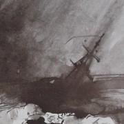 Ce détail d'un dessin de Victor Hugo représente l'océan d'où émerge le mat d'un galion en train de sombrer sous les éléments déchainés. On ne distingue pas la rose de l'infante.
