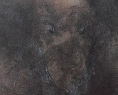 Ce détail d'un dessin de Victor Hugo représente un visage d'ombre (le diable) qui regarde en coin avec un regard torve, en bon théologien.