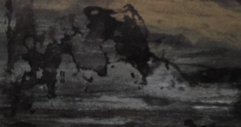 Ce détail d'un dessin de Victor Hugo représente un groupe de maisons accolées les unes aux autres avec l'or du soir au-dessus d'elles et un crapaud qui se traîne dans une ornière.