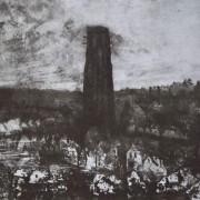 Ce détail d'un dessin de Victor Hugo représente une tour qui se dresse au-dessus des constructions humaines.