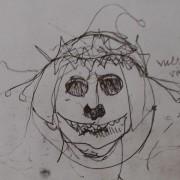 Ce détail d'un dessin de Victor Hugo représente une (presque) tête de mort couronnée et croquée avec un (presque) chapeau de clown.