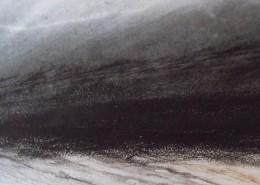 Ce détail d'un dessin de Victor Hugo est un tableau abstrait qui représente une ligne d'horizon entre ciel et océan.