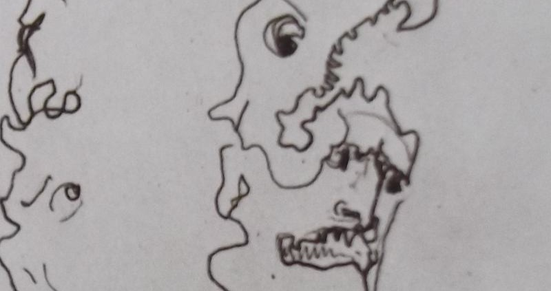 Ce détail d'un dessin de Victor Hugo représente quatre têtes grotesques liées les unes aux autres par un seul trait (ou presque).