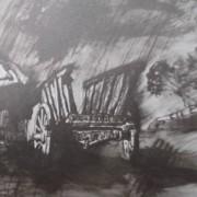 Ce détail d'un dessin de Victor Hugo représente une campagne sous la pluie. On aperçoit un toit et une charrette et, sur le bord de la route, les arbres ploient sous la bise.