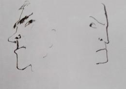 Ce détail de deux dessins de Victor Hugo représente deux têtes d'hommes qui regardent en biais.