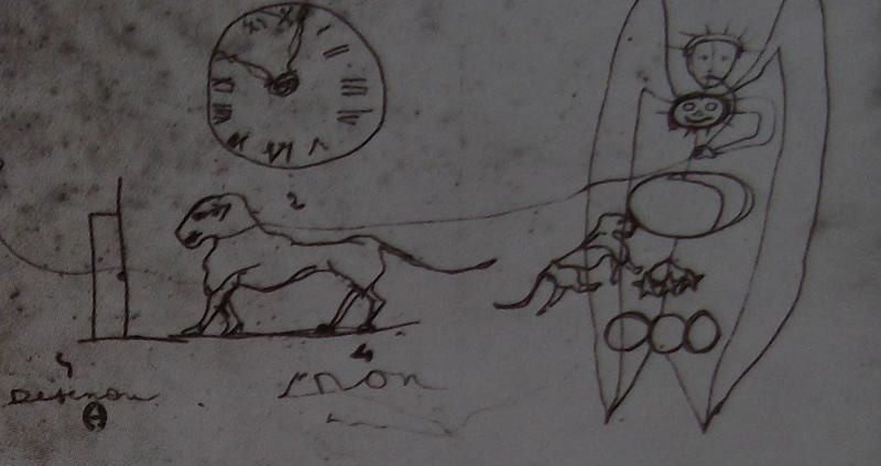 Ce détail d'un dessin de Victor Hugo représente un animal tenu en laisse par un ange vers lequel vient un autre animal. Une horloge est au-dessus du premier animal.