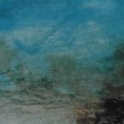 Ce détail d'un dessin de Victor Hugo représente un ciel d'azur serein . Du bas, à droite, semble monter une sombre menace dont le volutes se glissent vers ce ciel.