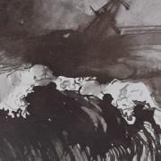 Ce détail d'un dessin de Victor Hugo représente l'océan par gros temps la nuit.