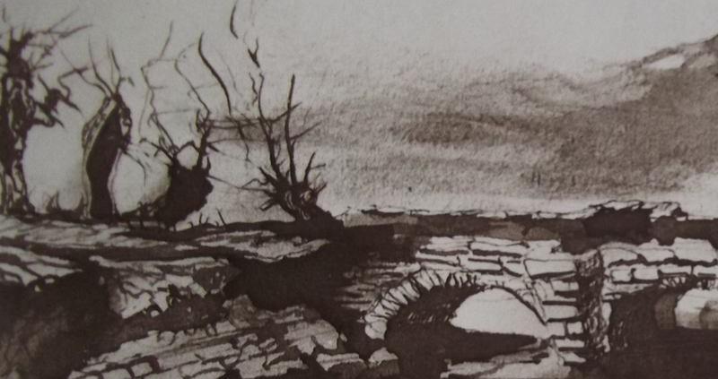 Ce détail d'un dessin de Victor Hugo représente un pont de pierres vers lequel semblent se diriger des arbres décharnés. Il fait froid.