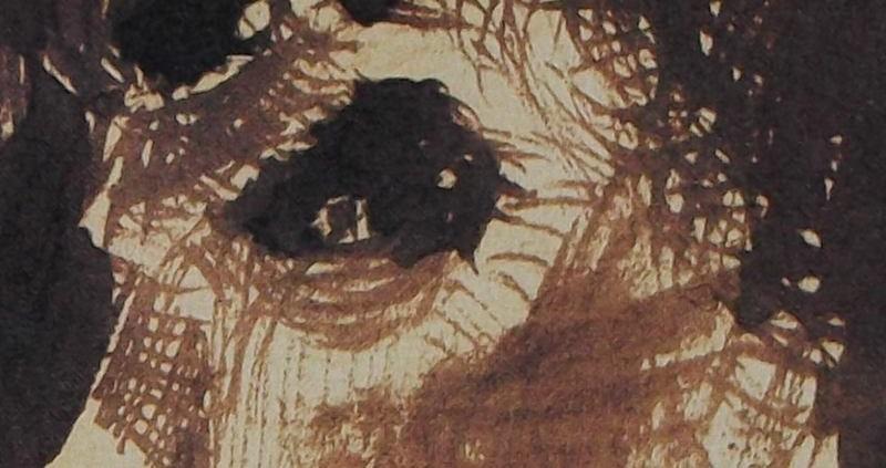 Ce détail d'un dessin de Victor Hugo représente l'œil d'un homme tourmenté (un bûcheron) scrutant l'inconnu.