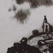 Ce détail d'un dessin de Victor Hugo représente une silhouette juchée sur un rocher et qui contemple l'abîme sous ses pieds. On aperçoit une falaise en face.