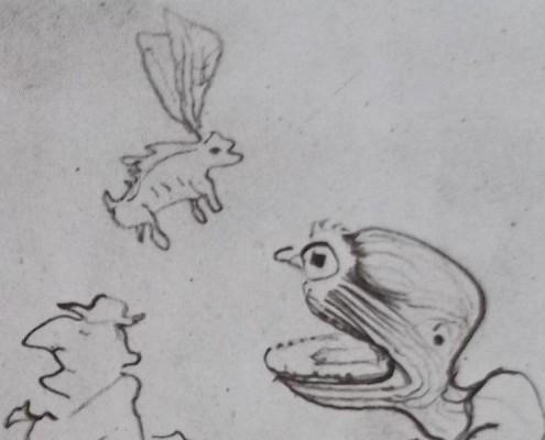 Ce détail d'un dessin de Victor Hugo représente un être à grande bouche d'où s'échappe un crapaud-bufflon ailé, tandis qu'un homme à chapeau passe sur le côté.