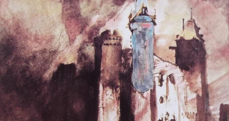 Ce dessin de Victor Hugo représente une forteresse imposante, avec une tour, ayant une flèche, bleue. Les lions y sont sans doute enfermés.