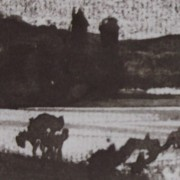 Ce détail d'un dessin de Victor Hugo représente une campagne paisible près d'un lac. On aperçoit, sur une colline de l'autre rive, des silhouettes de moulins. N'envions rien, semblent-ils dire...