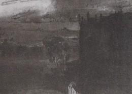 Ce détail d'un dessin de Victor Hugo représente l'ombre d'un immeuble de Paris, avec un arbre effeuillé devant, et l'ombre de novembre qui s'étend tout autour.