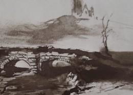Ce détail d'un dessin de Victor Hugo représente un pont de pierres près duquel se dresse un arbre écharné. Au loin, sur une colline, on aperçoit les ruines d'un château.