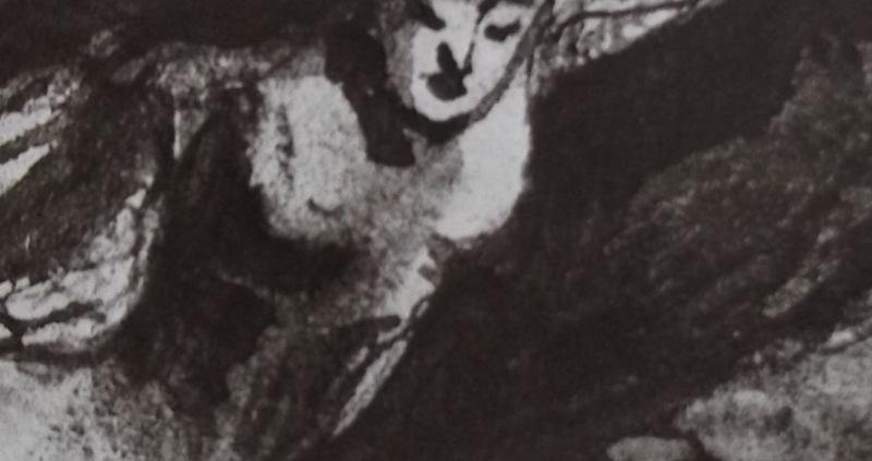 Ce détail d'un dessin de Victor Hugo représente une jeune femme, Sara la baigneuse ?, dans le mouvement de la balançoire, presque nue, les yeux fermés.