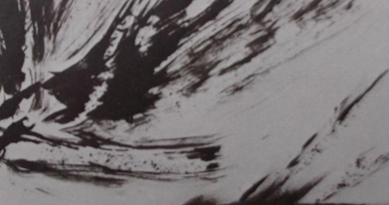 Ce détail d'un dessin de Victor Hugo représente les battements de la pensée au-dessus d'une ville qui se désagrège.