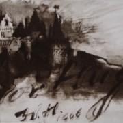 Ce détail d'un dessin de Victor Hugo représente un château sur une colline, au crépuscule. Juste en-dessous est écrit : Victor Hugo.