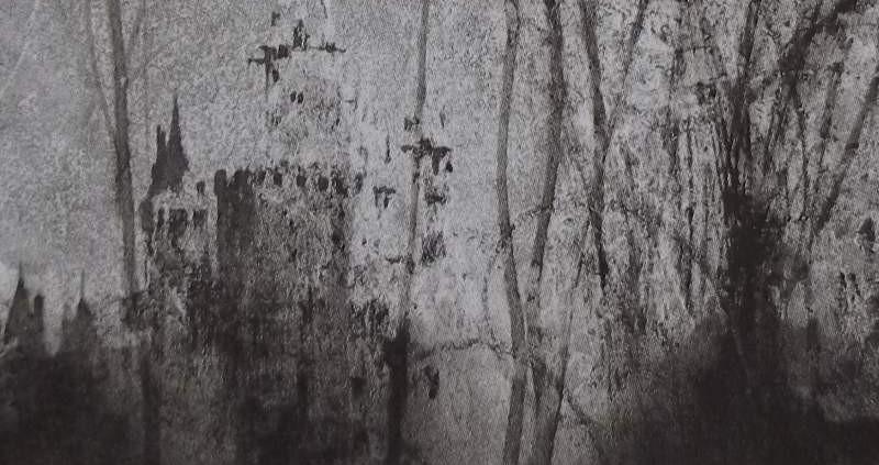 Ce détail d'un dessin de Victor Hugo représente un château lumineux, qui apparaît derrière un rideau d'arbres, où l'ombre couve, menaçante.