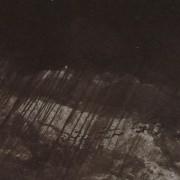 Ce détail d'un dessin de Victor Hugo représente la pluie qui s'abat en rafales obliques sur la terre. Le ciel est obscurcit de lourds nuages noirs.