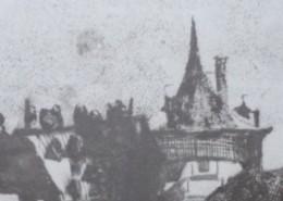 Ce détail d'un dessin de Victor Hugo représente des toits et une tour, au sommet pointu, sur laquelle grincent les girouettes.
