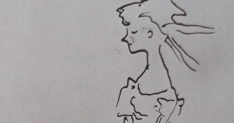 Ce détail d'un dessin de Victor Hugo représente le buste d'une jeune femme rougissant dans sa robe, les cheveux au vent.