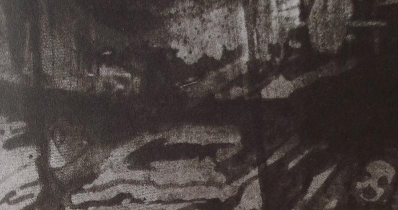 Ce détail d'un dessin de Victor Hugo représente un intérieur misérable où la faim déforme les visages.