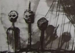 Ce détail d'un dessin de Victor Hugo représente trois têtes empalées et leurs ombres projetées.