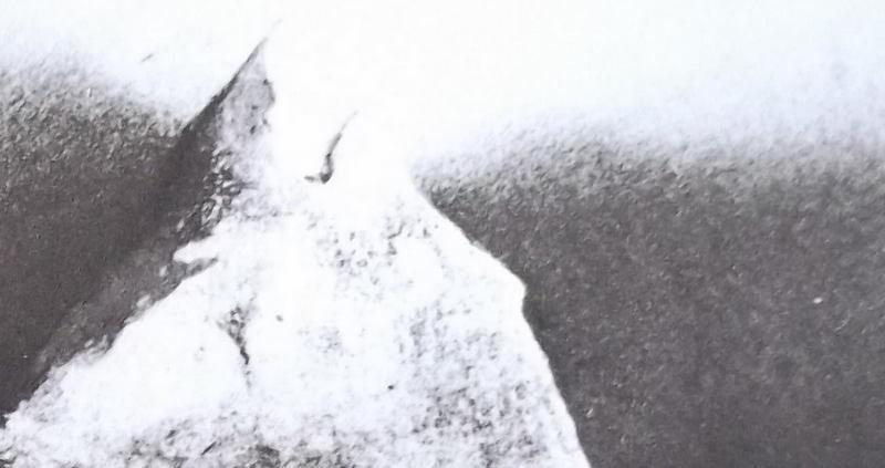 Ce détail d'un dessin de Victor Hugo représente un sommet enneigé au regard sévère. Il semble émerger de la noirceur qui l'entoure.