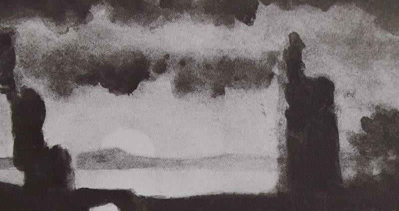 Ce détail d'un dessin de Victor Hugo représente des formes sombres entourant un petit pont en bord de mer avec, sur l'horizon, le disque solaire, lumière (telle le progrès ?) obscurcie par de lourd nuages noirs.