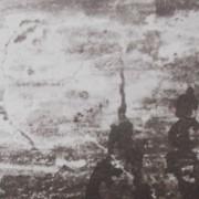 Ce détail d'un dessin de Victor Hugo représente des formes sombres et effilées dans un ciel de lumière où évoluent les trop heureux.