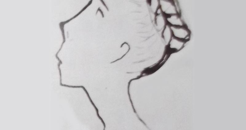 Ce détail d'un dessin de Victor Hugo représente une tête de jeune femme aux cheveux tressés en nattes relevés en chignon.