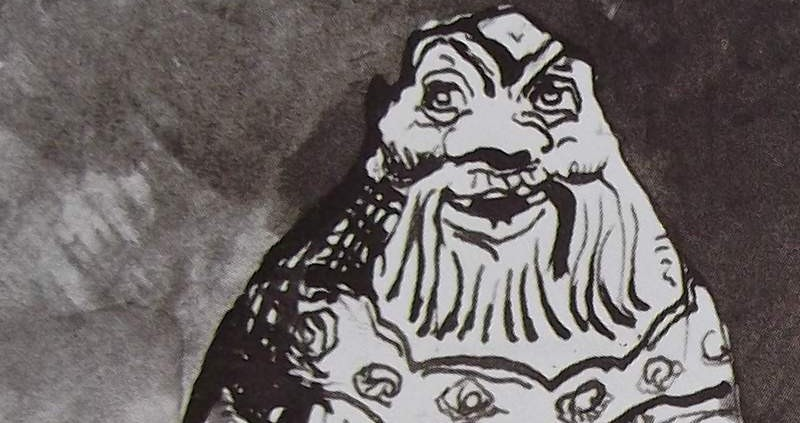 Ce détail d'un dessin de Victor Hugo représente un homme barbu et chauve, au visage épanoui et facétieux.