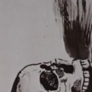 Ce détail d'un dessin de Victor Hugo représente la face d'un crâne humain, ses yeux vides tournés vers le haut.