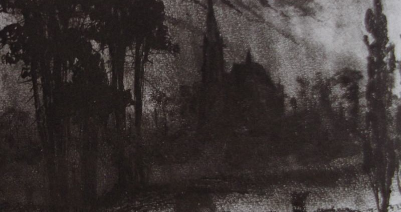 Ce détail d'un dessin de Victor Hugo représente les grands bois où le poète se promène avec son chien Ponto. Au sortir de ces bois, on aperçoit une église ; sur la droite, un peuplier.